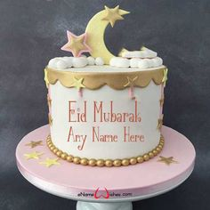 Write name on Happy Eid Wish Cake with Name with Name And Wishes Images and create free Online And Wishes Images with name online. - Happy Eid Mubarak Wishes  IMAGES, GIF, ANIMATED GIF, WALLPAPER, STICKER FOR WHATSAPP & FACEBOOK