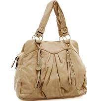 Soft fashion satchel bag with zipper / tassel accents - FREE SHIPPING