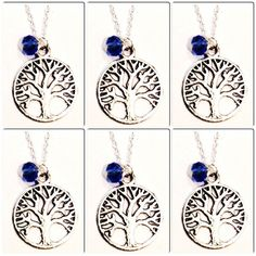 Set of 6 Silver Tree of Life Necklaces Bridal by BoxofHappies