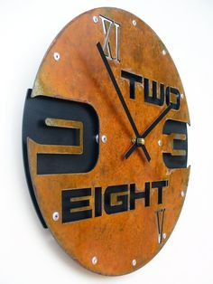 Outnumbered I Modern Wall Clock Rusted w/ Back door All15Designs
