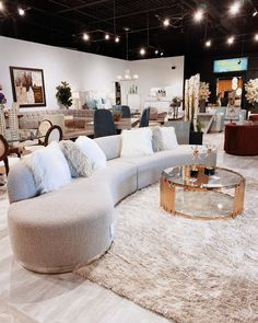 """Martin Daniel Interiors on Instagram: """"NEW Arrivals! How gorgeous is this bouclé sofa? Modern, glamorous and beautifully paired here with a plush rug, fur pillows, and gold +…"""" Fur Pillow, Pillows, Furniture Making, This Is Us, Plush, Rug, Sofa, Glamour, Interiors"""