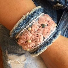Denim Bracelet, Denim Earrings, Fabric Bracelets, Summer Bracelets, Cute Bracelets, Fashion Bracelets, Bangles, Textile Jewelry, Fabric Jewelry