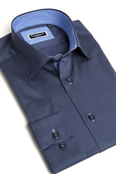 Navy blue dress shirt for men by Franck Michel