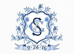 Watercolor wedding crest, hand painted custom heraldry, family crest, monogram, digital