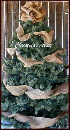10 DIY Christmas Tree Toppers. A burlap topper and ribbon would be perfect for the downstairs tree.