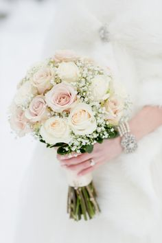 Blush & Ivory Chateau Lake Louise Winter Wedding|Photographer: ENV Photography