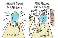 Dating when you have ADHD is more complicated than most people think. 19 Illustrations That Sum Up Being In A Relationship When You Have ADHD Adhd Funny, Adhd Humor, Adhd Facts, Adhd Signs, Adhd Brain, Attention Deficit Disorder, Adhd Strategies, Adhd And Autism, Adult Adhd