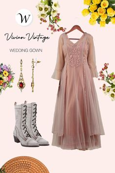 The Vivian Vintage Style Wedding Gown in Mauve by Nataya brings a touch of romance to any event. From the illusion sleeves in Swiss dot, to the embroidered lace detail on the bodice, this dress is a nod to the Edwardian look of the early 1900s