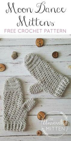Moon Dance Mittens | Free Crochet Pattern | The Unraveled Mitten | Easy crochet mittens | textured | lion brand heartland yarn | One skein project