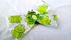 Frog Hair Bow Green Summer Hair Bow Small Green by AmalieBowtique, $4.50