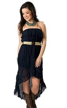 Ocean Drive Women's Navy Crinkle with Tan Beaded Belt Hi-Lo Strapless Maxi Dress