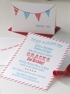 Red + Aqua Carnival Birthday Party Invitations for Grace! | The Paper Peony