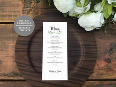 Menu template printable wedding menu Eucalyptus Leaves