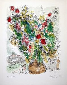 Marc Chagall, Roses et Mimosa