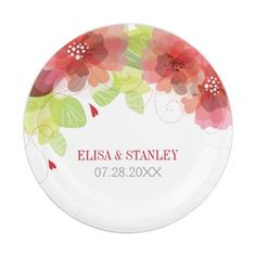 Delicate red pink flowers floral spring wedding paper plate  sc 1 st  Pinterest & Personalized Monogram Hot Pink Grey Gray Chevron Paper Plate | Grey ...