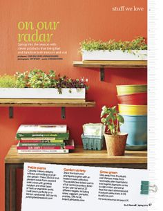 """Micro-Greens: Cultivate culinary delights without committing to a full-sized garden.  These 18x3x2"""" planters made from recycled steel come with growing medium and three types of herb or vegetable seeds.  It will perch perfectly on a kitchen windowsill: $40."""