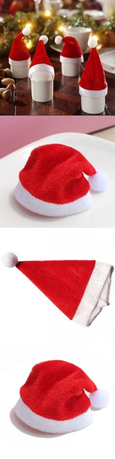 By EMS 1000pcs/lot Christmas Party Supplies Glass Cup Bottles Flannelette Christmas Hats Christmas Home Decorations 11cm $176