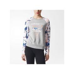 adidas Studio Logo Marble Print Sweatshirt Medium Heather ($40) ❤ liked on Polyvore featuring tops, hoodies, sweatshirts, grey, gray top, heather sweatshirt, grey top, marble top and adidas sweatshirt
