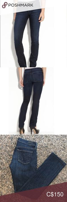 """CITIZEN OF HUMANITY 'Ava' Straight Leg LOW RISE Low rise. Runs small; if between sizes order one size up. Sizing: 24=00, 25=0 Modern silhouette shaped from lightweight stretch denim in a dark-blue shade is discreetly branded with signature 'H' embroidery in a tonal hue on the back pockets.  Zip fly with button closure. Five-pocket style. Dark dye may transfer to lighter materials. Approx. inseam: 33 1/2"""" with 14"""" leg opening. Approx. rise: front 8 1/2""""; back 13"""". Cotton/elastane; machine… Plus Fashion, Fashion Tips, Fashion Trends, Citizens Of Humanity, Stretch Denim, Ava, Dark Blue, Embroidery, Legs"""