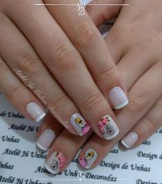 Unhas românticas passo a passo Love Nails, My Nails, Nail Decorations, Nail Arts, Manicure And Pedicure, Nails Inspiration, Nail Art Designs, Hair Beauty, Lily