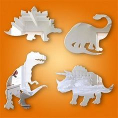 4 Piece Dinosaur Boys Bedroom Acrylic Mirror Set 15cm
