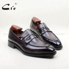 cie Free Shipping Square Toe 100% Genuine Leather Outsole Bespoke Goodyear Handmade Gray Penny  Men's Slip On Shoe No.loafer 163