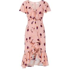 Cinq À Sept Mateo Silk Floral-Print Dress (765 CAD) ❤ liked on Polyvore featuring dresses, pink, pink floral print dress, floral printed dress, flower pattern dress, pink dress and silk dress