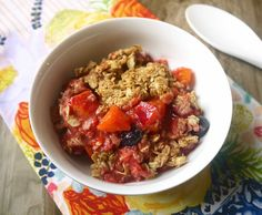 The Absolute Best Summer Crisp! (refined-sugar free, gluten-free, flour-free, dairy-free) (Paleo option provided) Recipe Desserts with strawberries, raspberries, honey, water, apples, nectarines, peaches, blueberries, oatmeal, almond flour, cinnamon, vanilla, maple syrup, coconut oil