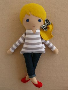 Fabric Doll Rag Doll Blond Girl in Gray and White by rovingovine