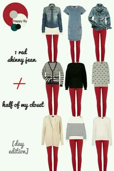 Outfit with red pants, jeans outfit winter, outfits with red, red trousers outf Cute Fall Outfits, Fall Winter Outfits, Autumn Winter Fashion, Casual Outfits, Pullover Shirt, Sweater Shirt, Jeans Outfit Winter, Outfit Jeans, Outfit With Red Pants
