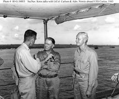 Secretary of the Navy Frank Knox (center) meets with Lieutenant Colonel Evans F. Carlson, USMC, and Admiral Chester W. Nimitz (at right), Four days after the raid, on 11 December, Secretary of the Navy Frank Knox arrived at Pearl Harbor for a personal inspection. On his return to Washington, he recommended the relief of the Pacific Fleet's commander. Admiral Husband E. Kimmel was temporarily replaced by the Battle Force commander, Vice Admiral William S. Pye. Kimmel's permanent replacement,