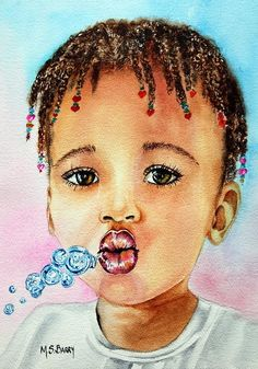 Blowing Bubbles Painting by Maria Barry