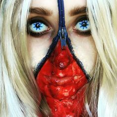 #zipper #zippermakeup #unzipped #makeup #blondwig #halloween #halloweenmakeup #wig #contactlens #whitelenses #fakeblood #zombie #blood #halloweenart #lenses #art #makeupartist #halloweenzombie #creepymakeup #creepyart #facepaint #zipperface #halloweenideas #halloweenmakeupideas #model #halloweencostume #halloweenideas #photoshoot #liquidlatex #characterization #halloween2015 🎃👻💀