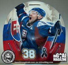The late Pavol Demitra on Jaroslav Halak's goalie mask.