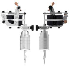 silver metallic white tattoo machine with black gloss coils set