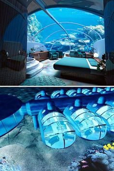Poseidon Hotel is in Fiji. The rooms of this underwater resort rest 40 feet below the surface of the waves in a room made out of acrylic glass.