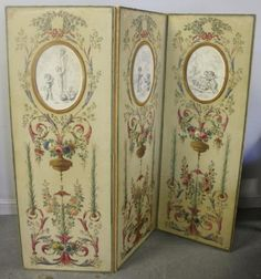 Beautiful Antique Hand Painted Tri Fold Dressing