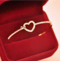 susenstone Classic Style Gold Rhinestone Love Heart Bangles Gift Bangle Cuff Plated Bracelets Jewelry for Women Feminina Wedding Jewellery Gifts, Jewelry Party, Jewelry Gifts, Hand Jewelry, Trendy Jewelry, Women Jewelry, Ladies Jewelry, Fashion Jewelry, Silver Bracelets For Women