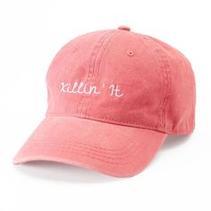 "Women's SO® ""Killin' It"" Baseball Cap ($13) ❤ liked on Polyvore featuring accessories, hats, embroidered hats, embroidered baseball hats, embroidered ball caps, embroidered baseball caps and cotton hat"