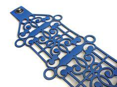 Laser cut leather cuff bracelet - intricate design in bright blue