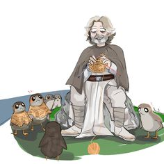 Poncho Luke knitting mini ponchos to his new audience of space puffins. - - - Extra: Porg i n c r e a s e