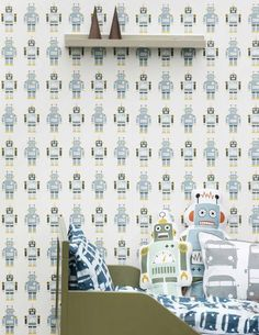 €61,90 Prezzo per rotolo (per m2 €11,61), Carta da parati per bambini, Tessuto base: Carta da parati TNT, Superficie: Liscio, Effetto: Opaco, Design: Robot, Colore di base: Bianco, Colore del disegno: Blu chiaro, Giallo miele, Verde olivastro, Caratteristiche: Resistente alla luce, Bassa infiammabilità, Rimovibile, Stendere colla sul muro, Lavabile