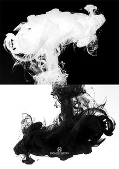 Smoke or ink black and white poster - Downloadable prints for home or office - #AbstractPosters