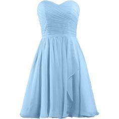 ANTS Women's Sweetheart Short Bridesmaid Dresses Chiffon Wedding Party Dress