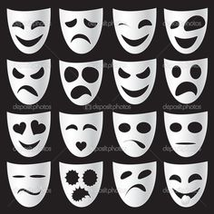 Isolated theatre masks expressing different emotions Teaching Theatre, Teaching Art, Drama Class, Different Emotions, Mask For Kids, Ancient Greece, Ancient Greek Art, Projects For Kids, Art Lessons