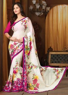 White and Pink Color Chiffon Floral Print Sarees : Avika Collection YF-23432