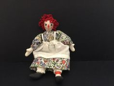 """unknown artist, possibly Sylvia Lyons - 4"""" tall Raggedy Ann doll with stuffed cloth body, porcelain hands, face and legs"""