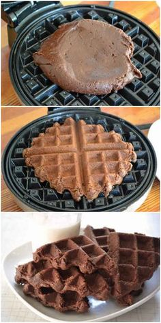 17 Unexpected Foods You Can Cook In A Waffle Iron I've used cake batter, but this is crazy! I think I need one :-) 17 Unexpected Foods You Can Cook In A Waffle Iron Yummy Treats, Delicious Desserts, Dessert Recipes, Yummy Food, Dessert Healthy, Crepe Recipes, Think Food, Love Food, Brownie Waffles