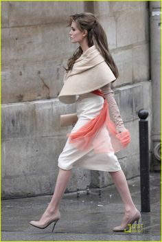 Angelina Jolie in The Tourist - white and camel ensemble by costume designer Colleen Atwood.