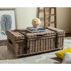 Accent your living room by using this stylish Safavieh Navarro Rattan Gray Coffee Table Trunk. Crafted with Rattan kubu. Natural Wood Coffee Table, Wicker Coffee Table, Outdoor Coffee Tables, Diy Coffee Table, Coffee Table With Storage, Wicker Storage Trunk, Wicker Trunk, Wicker Shelf, Wood Storage